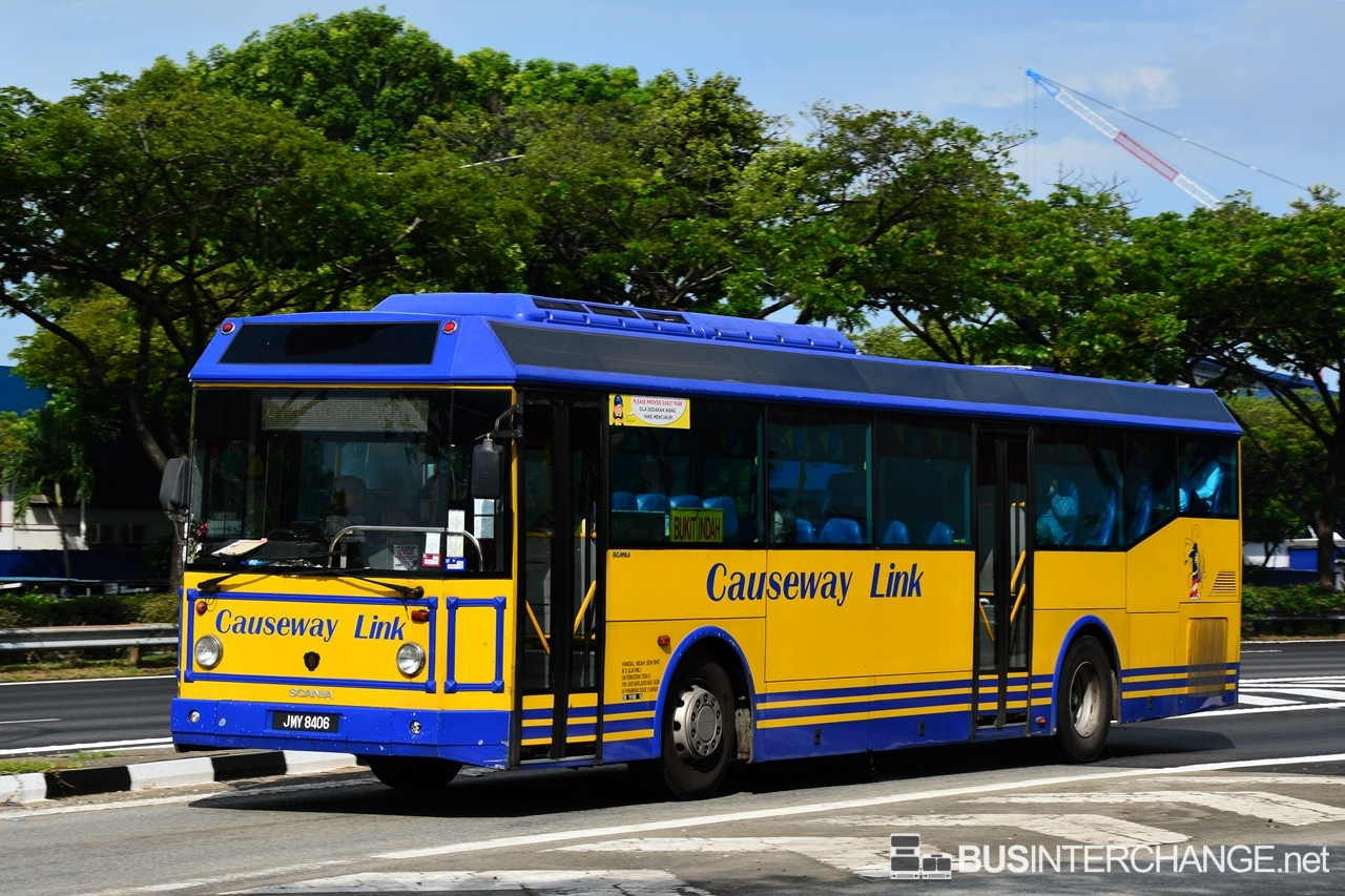 A Scania K310IB (JMY8406) operating on Causeway Link bus service CW6