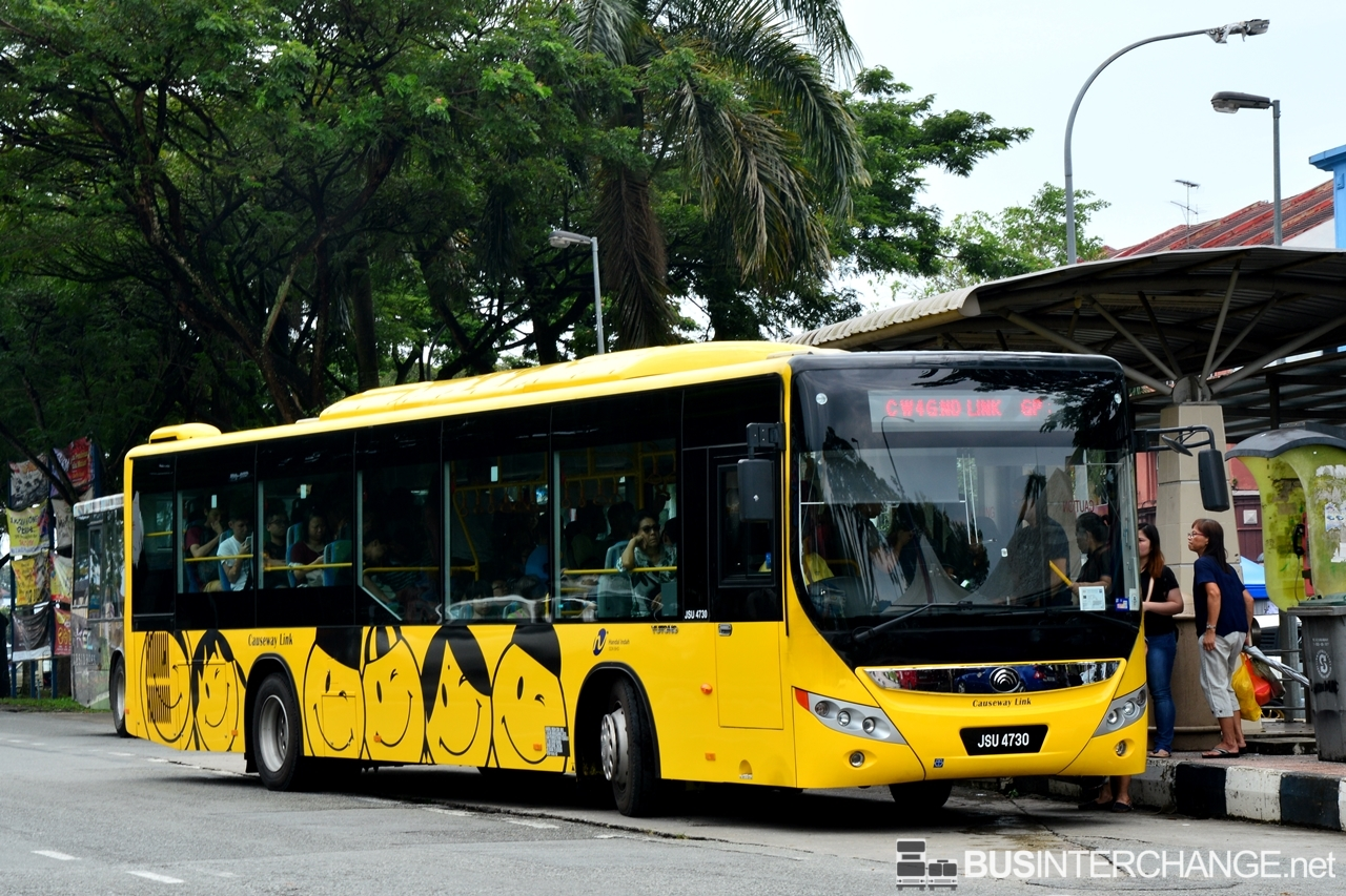 A Yutong ZK6126HG (JSU4730) operating on Causeway Link bus service CW4G