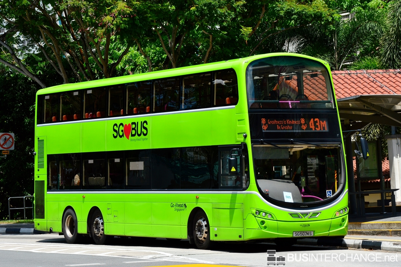 The Volvo B9TL with Wright Eclipse Gemini II bodywork (SG5074S) is seen on Go-Ahead Singapore Bus Service 43M with message on EDS