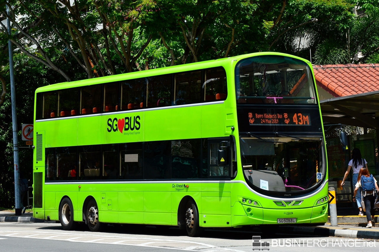 The Volvo B9TL with Wright Eclipse Gemini II bodywork (SG5093L) is seen on Go-Ahead Singapore Bus Service 43M with message on EDS