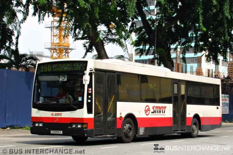 A Mercedes-Benz O405 (TIB959S) operating on SMRT Buses bus service 950