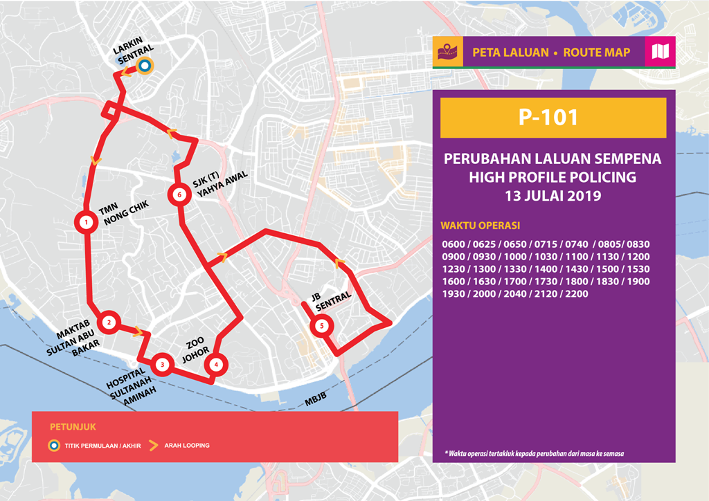 Official poster of Bas Muafakat Johor P101 for the temporary diversion.