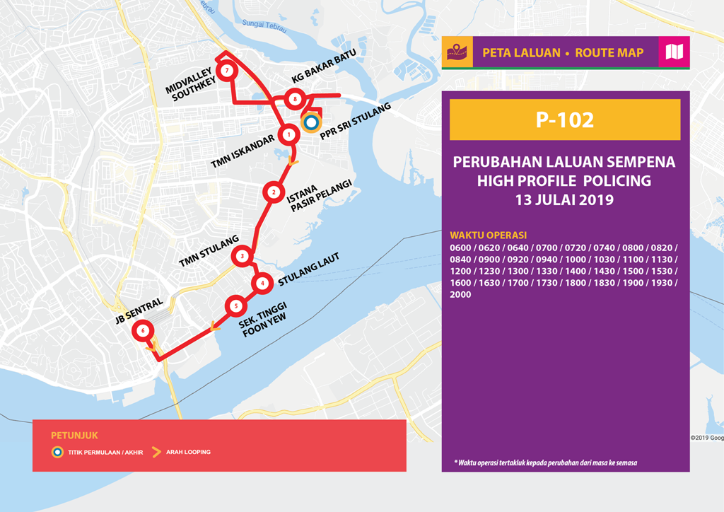 Official poster of Bas Muafakat Johor P102 for the temporary diversion.