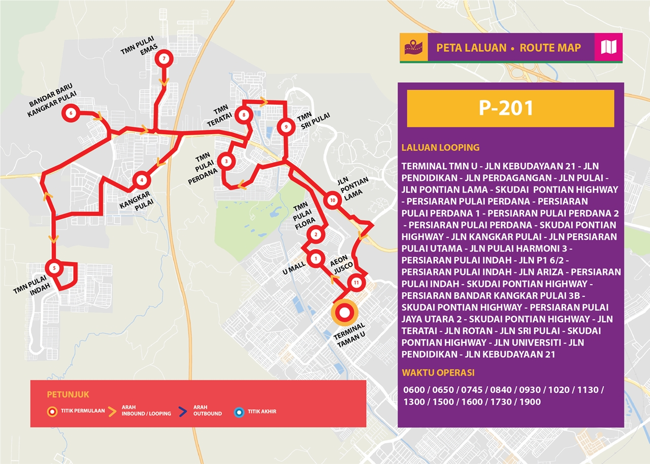 Map for Bas Muafakat Johor P201, effective from 1 January 2018.