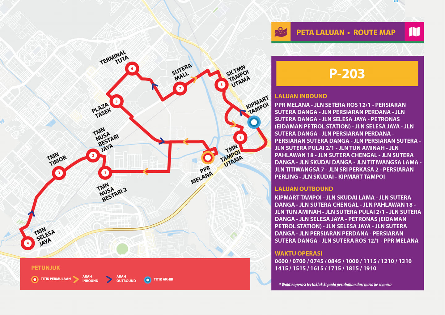 New route map for Bas Muafakat Johor P203 from 1 May 2019