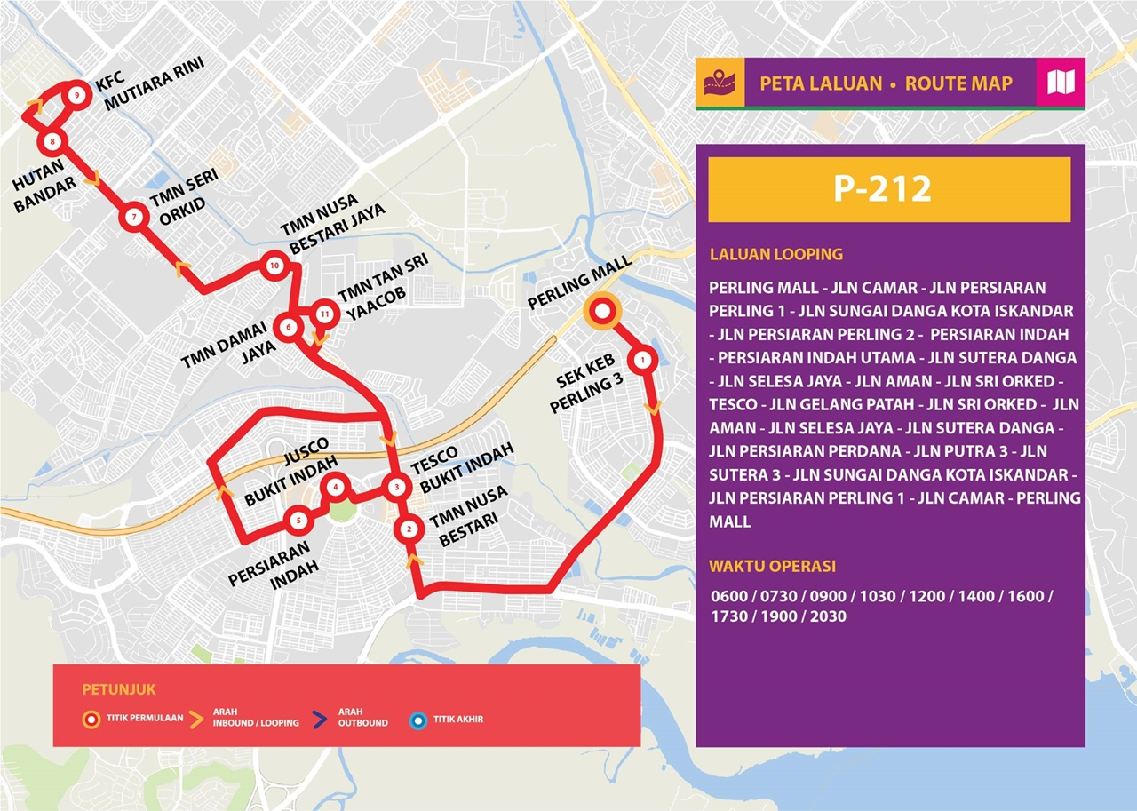 Map for Bas Muafakat Johor P212, effective from 1 January 2018.