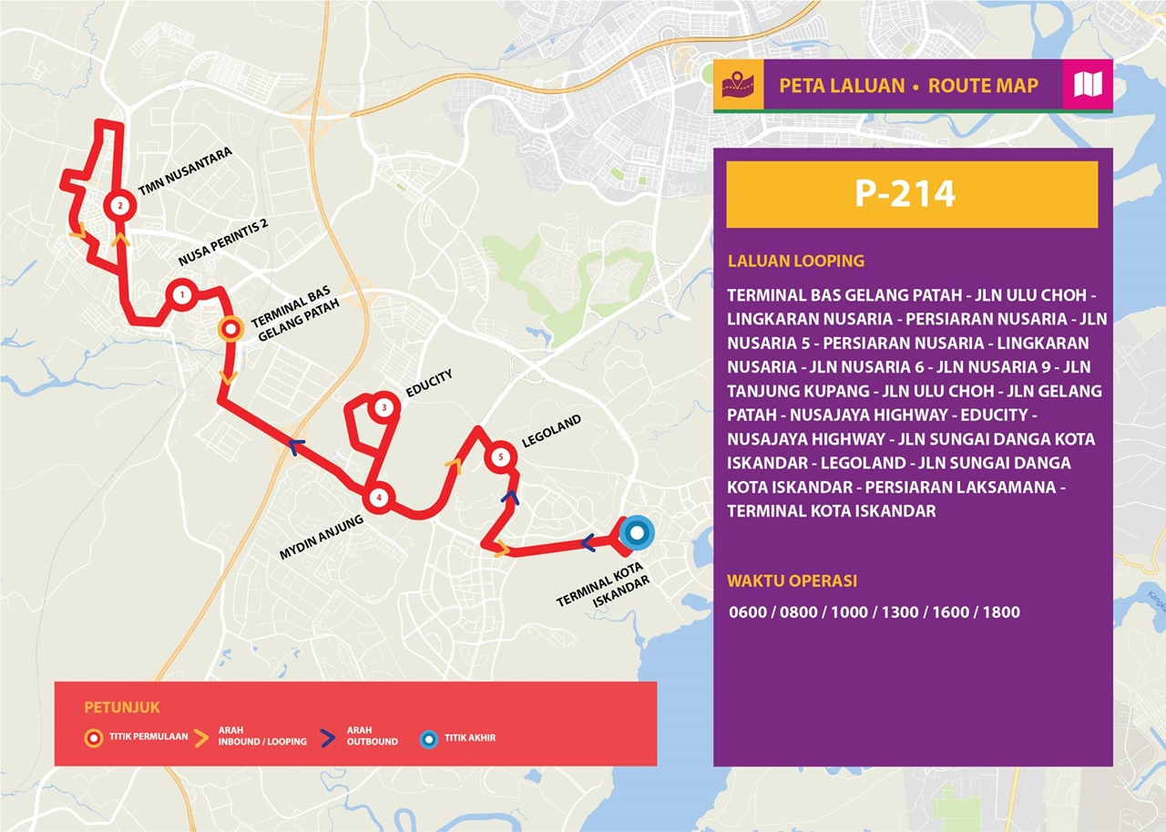 Map for Bas Muafakat Johor P214, effective from 1 January 2018.