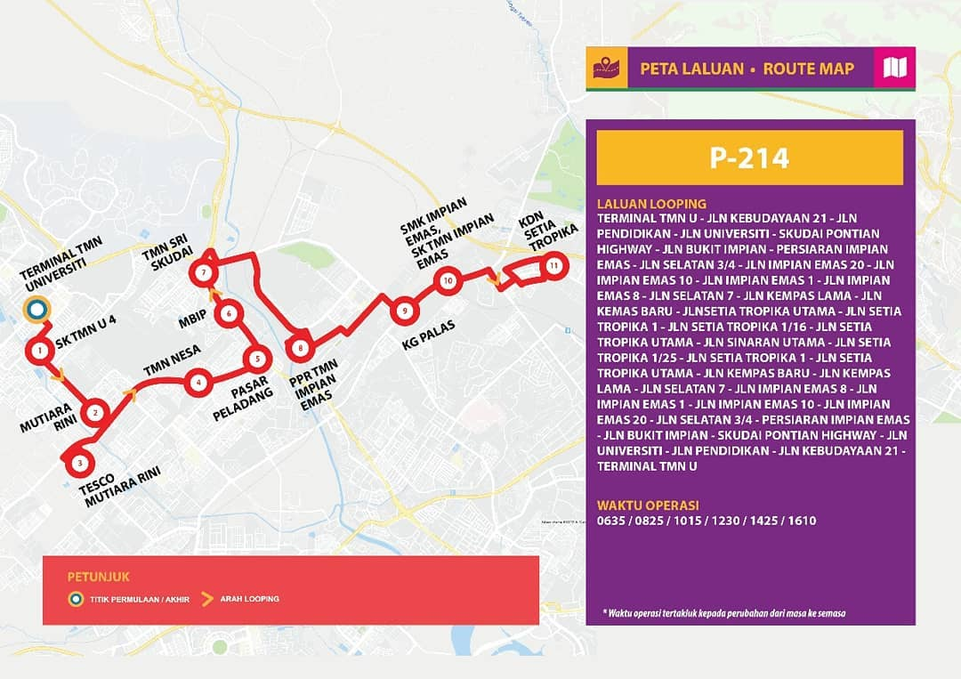 Bas Muafakat Johor P214 serving Taman Universiti and Taman Setia Tropika route map effective from 1 November 2018.