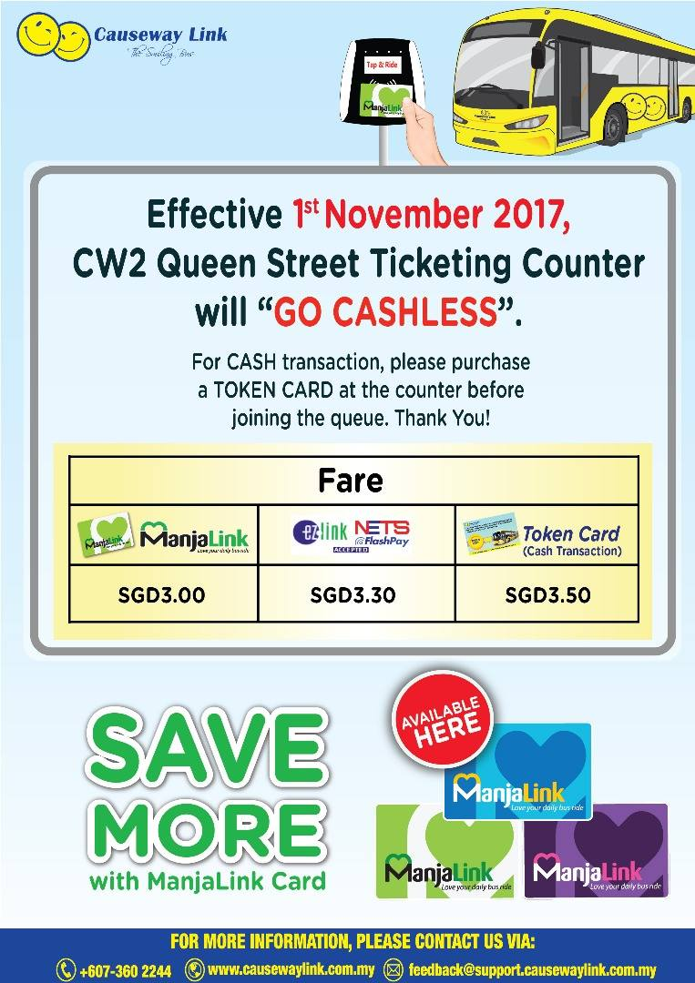 Official poster by Causeway Link on the new payment arrangement.