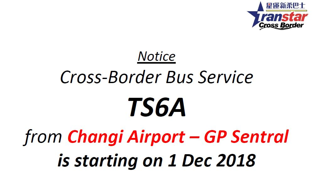 Screengrab of notice attached on the bus timetable for cross-border bus service TS6A.