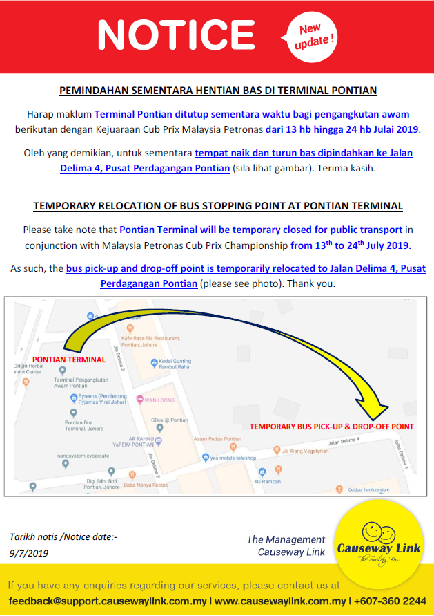 Official poster on the temporary closure of Pontian Terminal by Causeway Link.
