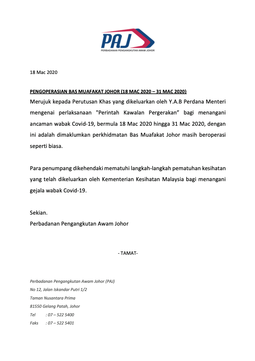 Bas Muafakat Johor bus services will remain in operation during the Movement Control Order from 18 March 2020 to 31 March 2020.