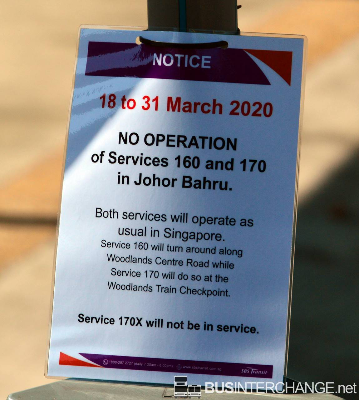 Initial on suspension of service into Johor Bahru from 18 March 2020 to 31 March 2020 for SBS Transit Bus 160, 170 & 170X