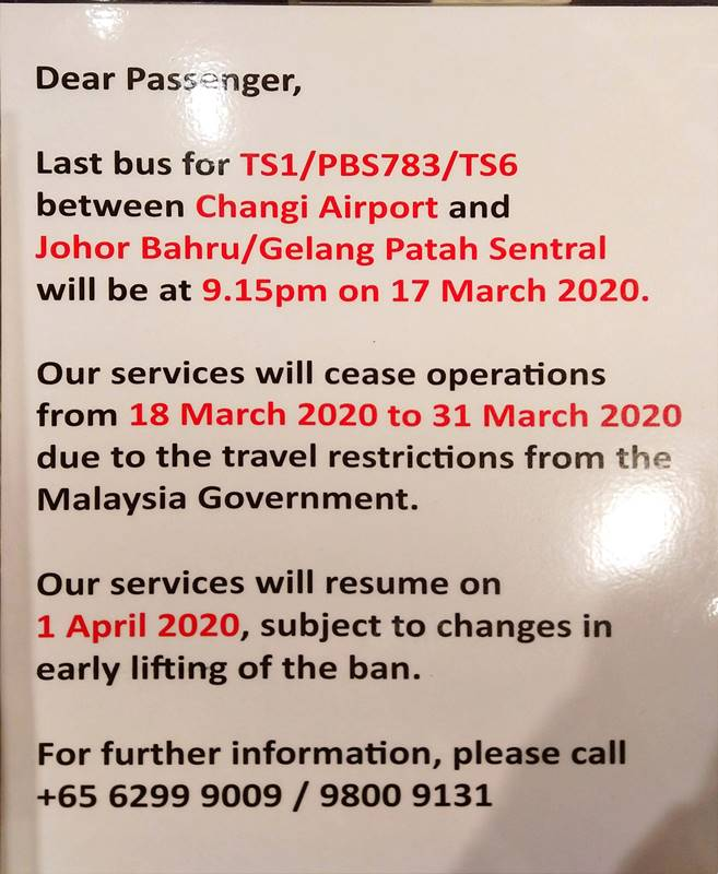 Initial suspension from 18 March 2020 to 31 March 2020 for Transtar Bus 783, TS1 & TS6