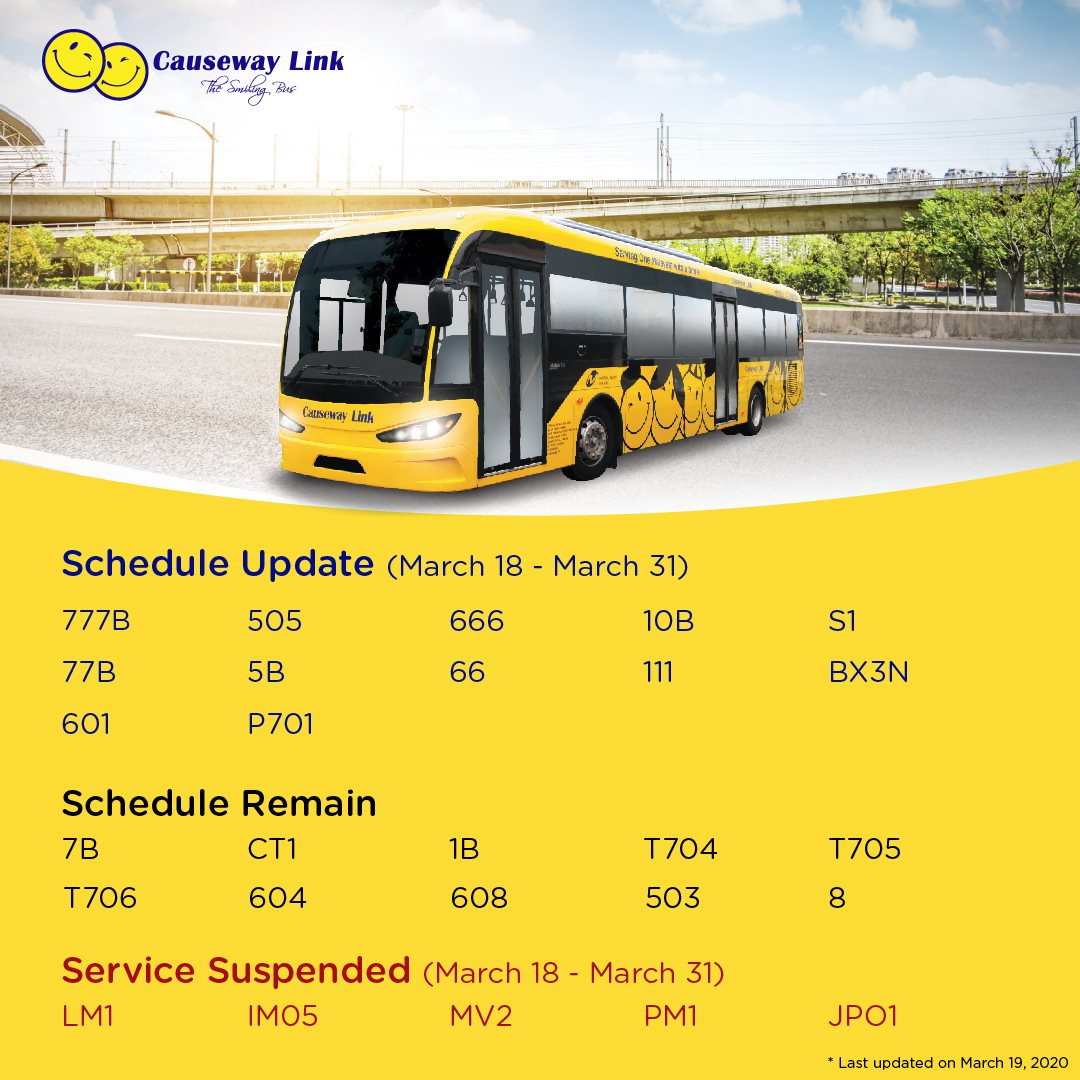 Temporary schedule changes and suspension of Causeway Link local bus services from 18 March 2020 to 31 March 2020.