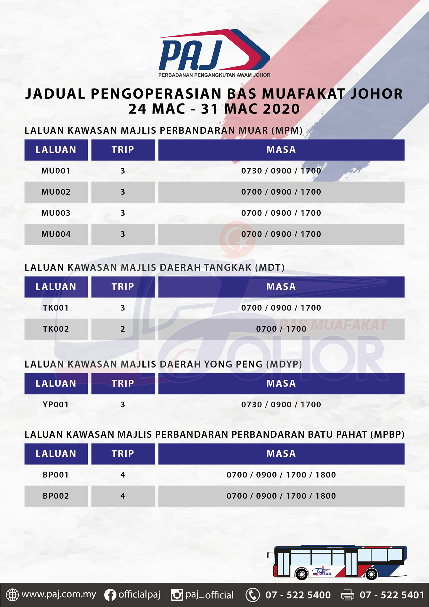 Official PAJ poster on the change in operation hours of Bas Muafakat Johor bus services in Muar, Tangkak, Yong Peng and Batu Pahat districts