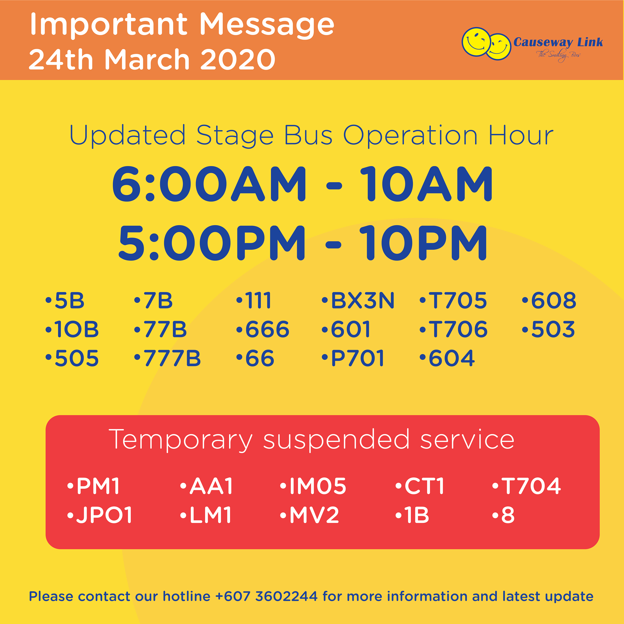 Official Causeway Link announcement on the change in operating hours and suspension of bus services.
