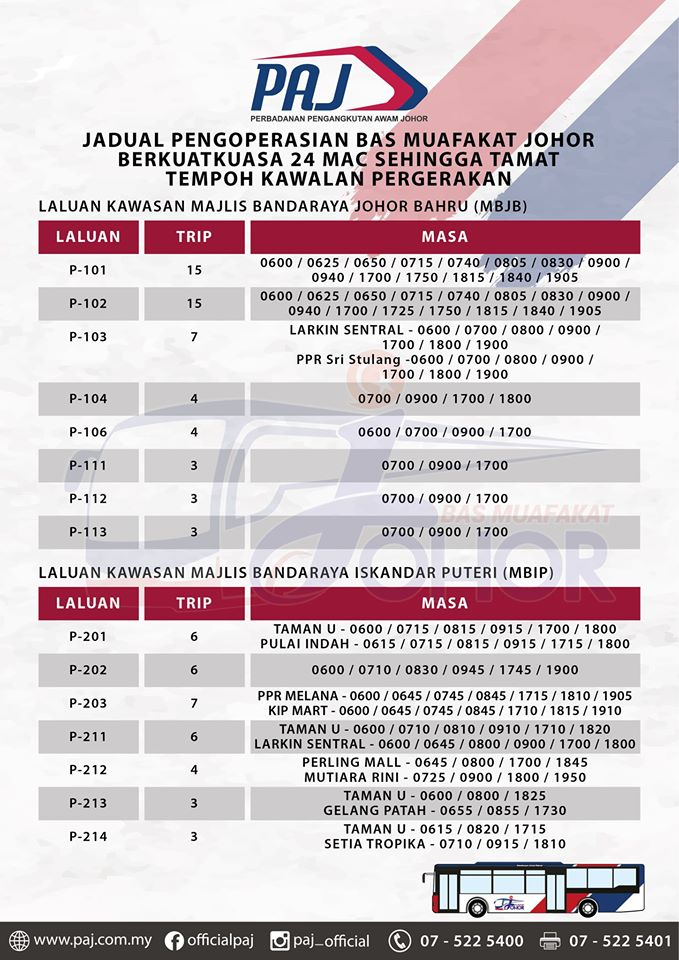 Official PAJ poster on the change in operation hours of Bas Muafakat Johor bus services in Johor Bahru and Iskandar Puteri districts