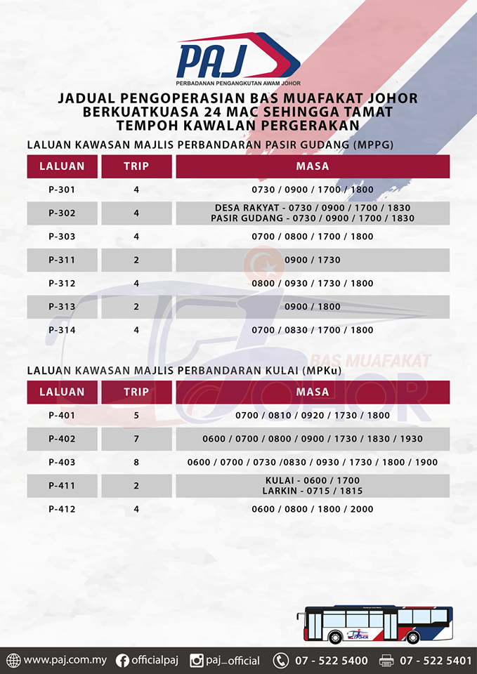 Official PAJ poster on the change in operation hours of Bas Muafakat Johor bus services in Pasir Gudang and Kulai districts