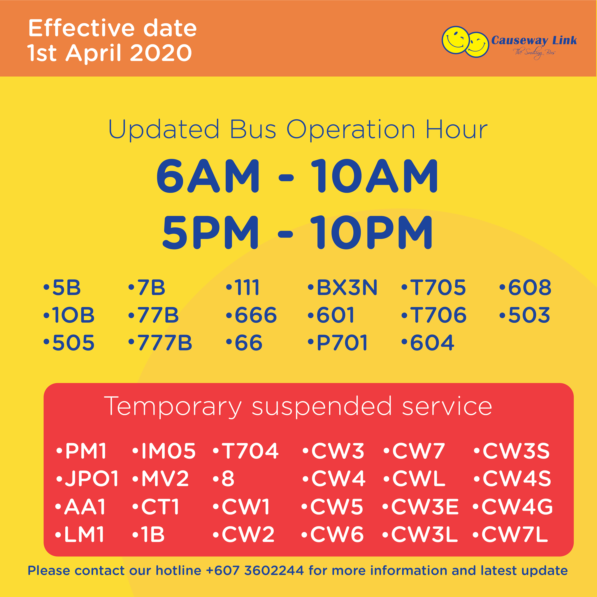 Causeway Link bus operating status from 1 April 2020