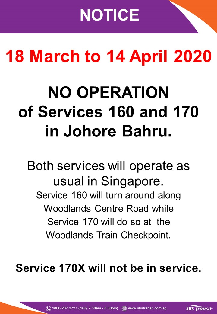 First extension on suspension of service into Johor Bahru to 14 April 2020 for SBS Transit Bus 160, 170 & 170X