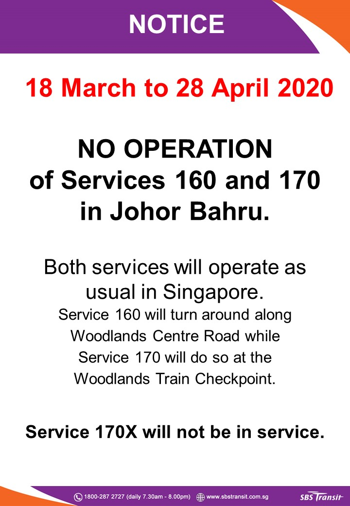 Second extension on suspension of service into Johor Bahru to 28 April 2020 for SBS Transit Bus 160, 170 & 170X
