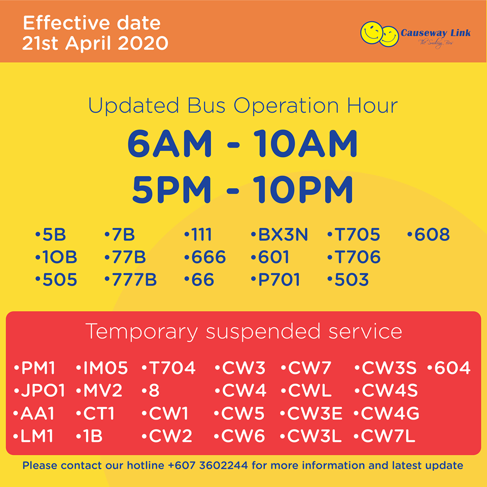 Causeway Link bus operating status from 21 April 2020