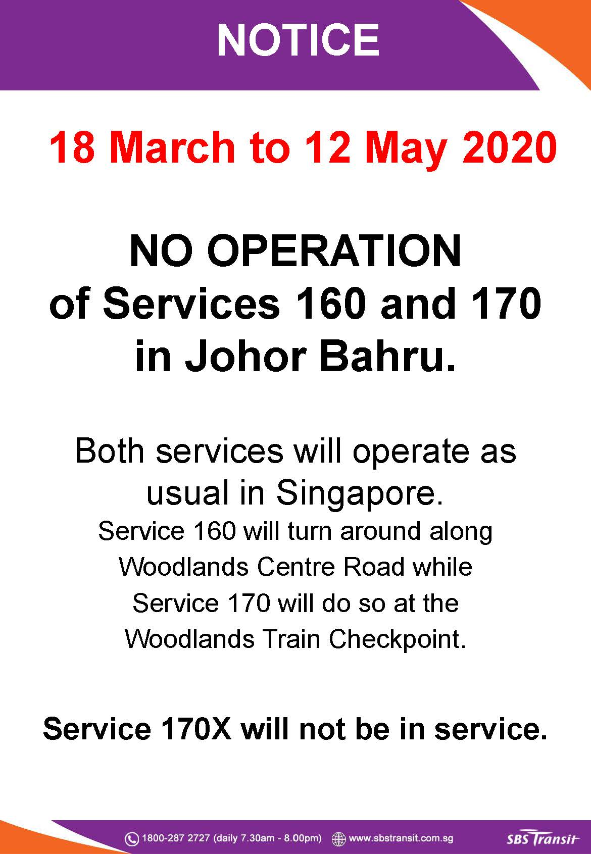 Third extension on suspension of service into Johor Bahru to 12 May 2020 for SBS Transit Bus 160, 170 & 170X