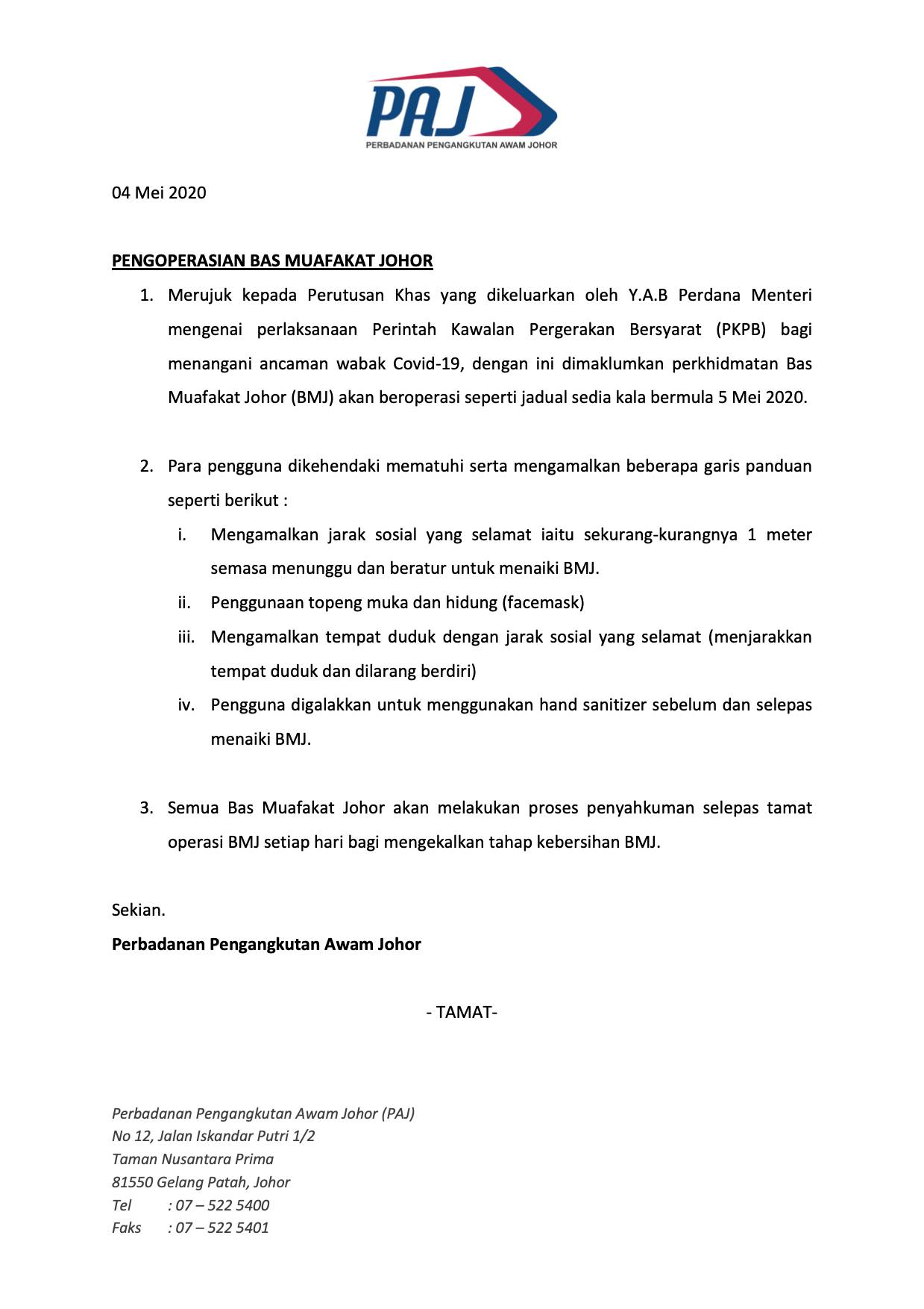 Official poster on resumption of Bas Muafakat Johor bus services from 5 May 2020
