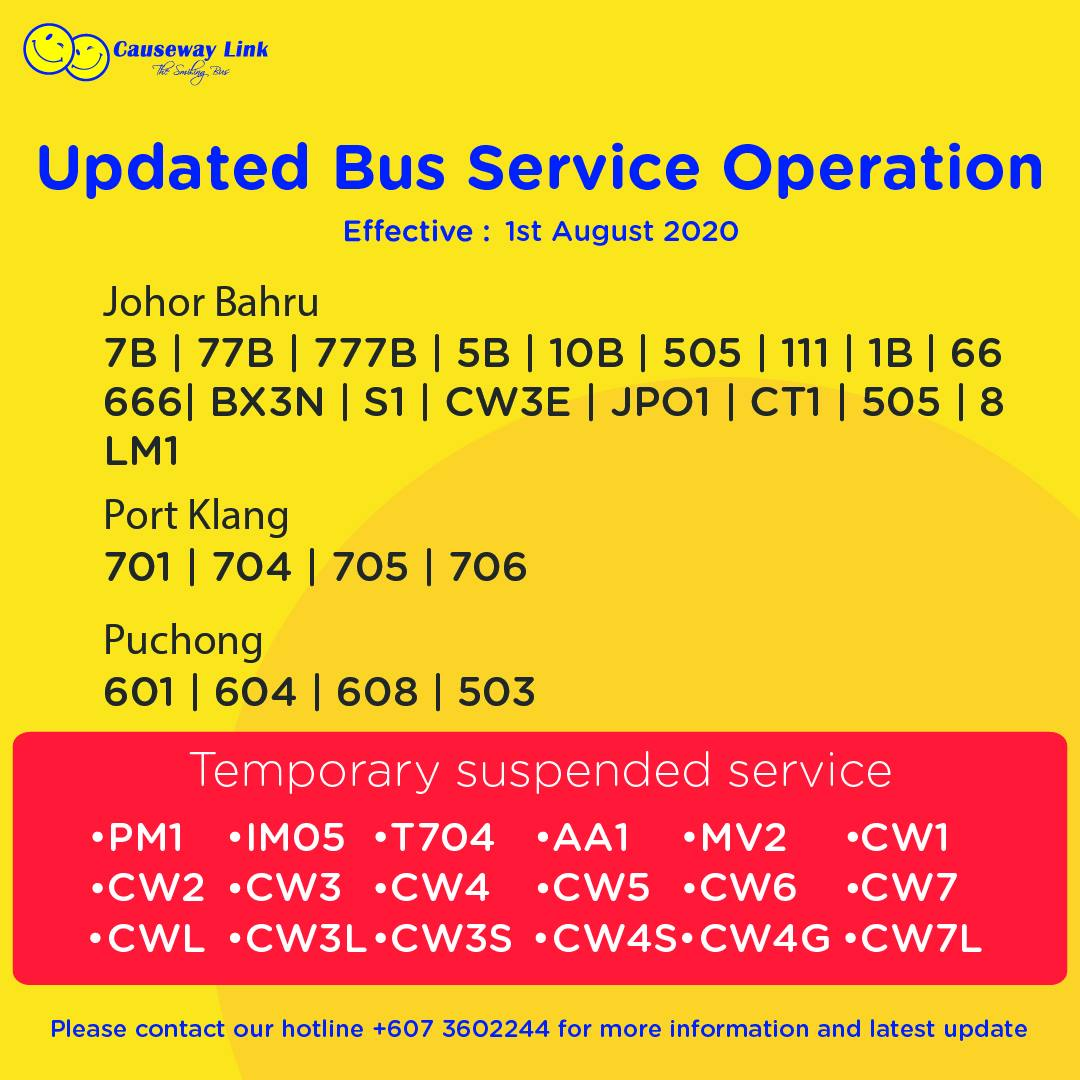 Operating status of Causeway Link bus services from 1 Aug 2020