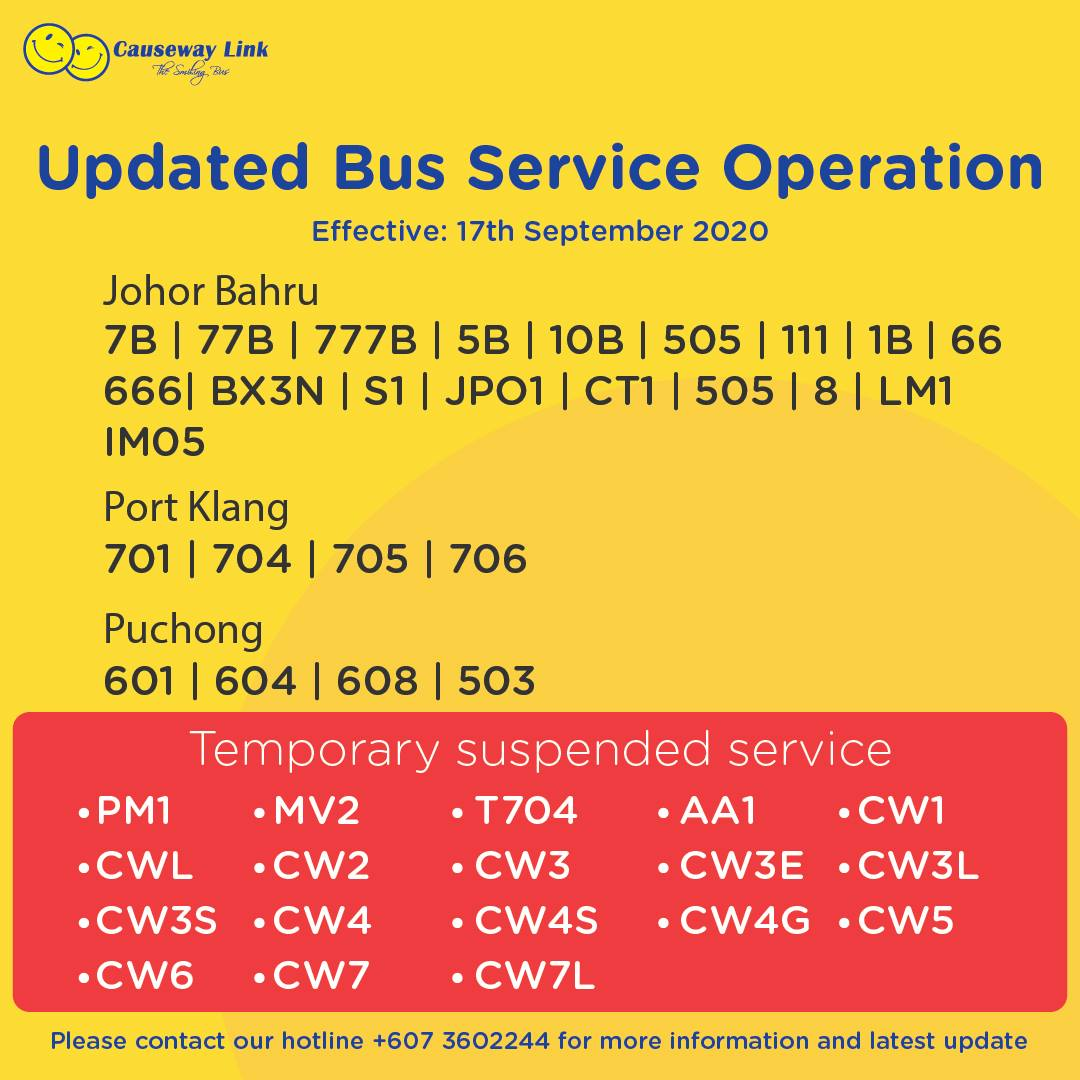 Operating status of Causeway Link bus services from 17 Sep 2020