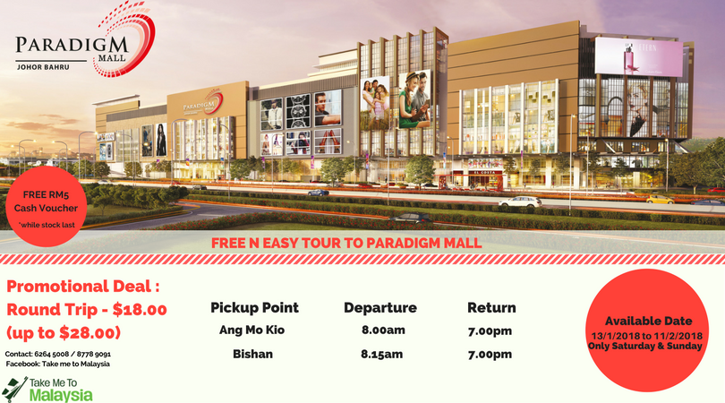 Promotional poster for the new bus service from Ang Mo Kio and Bishan to Paradigm Mall JB by Take Me To Malaysia.