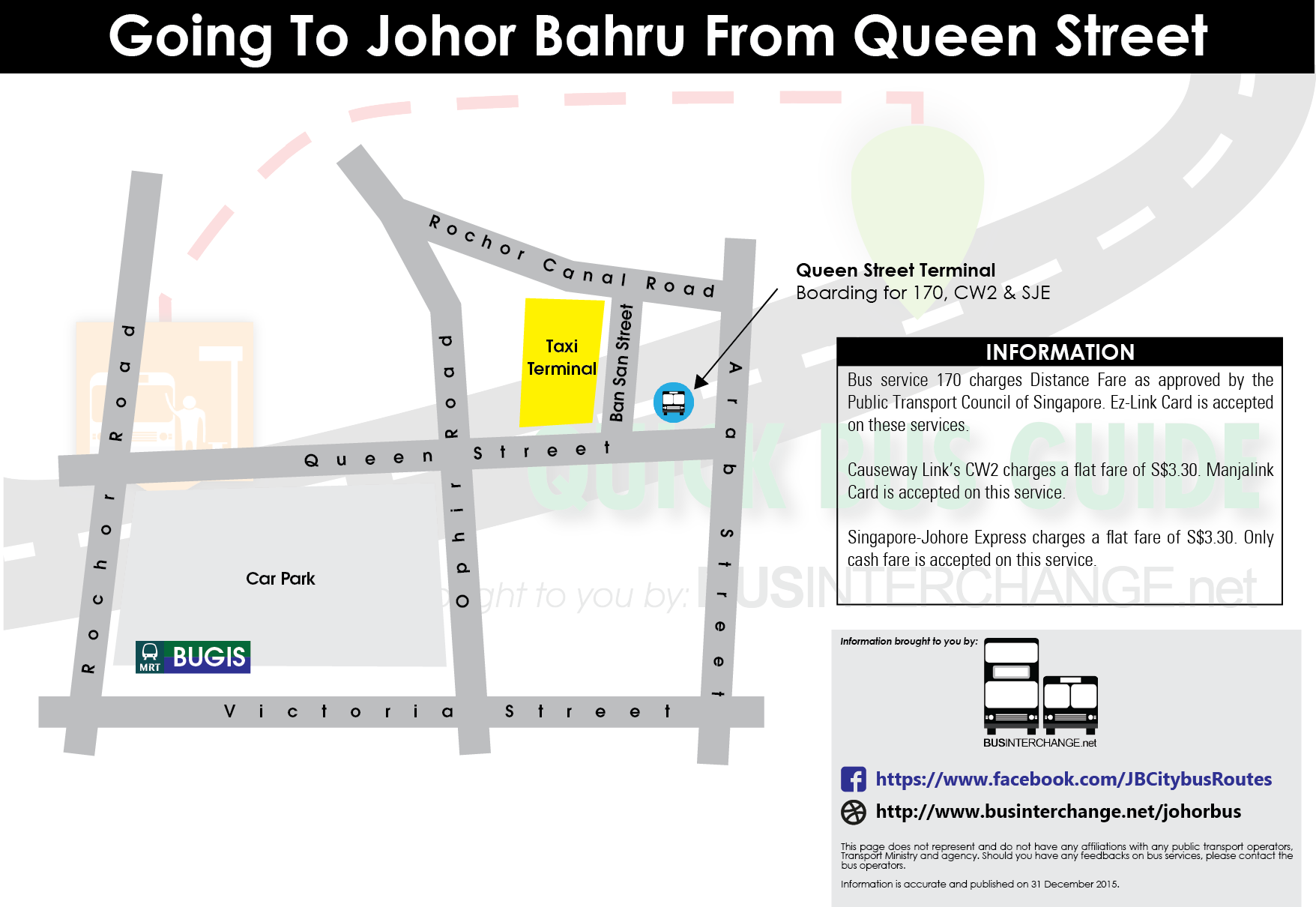 Boarding point for 170, CW2 and Singapore-Johore Express at Queen Street Terminal