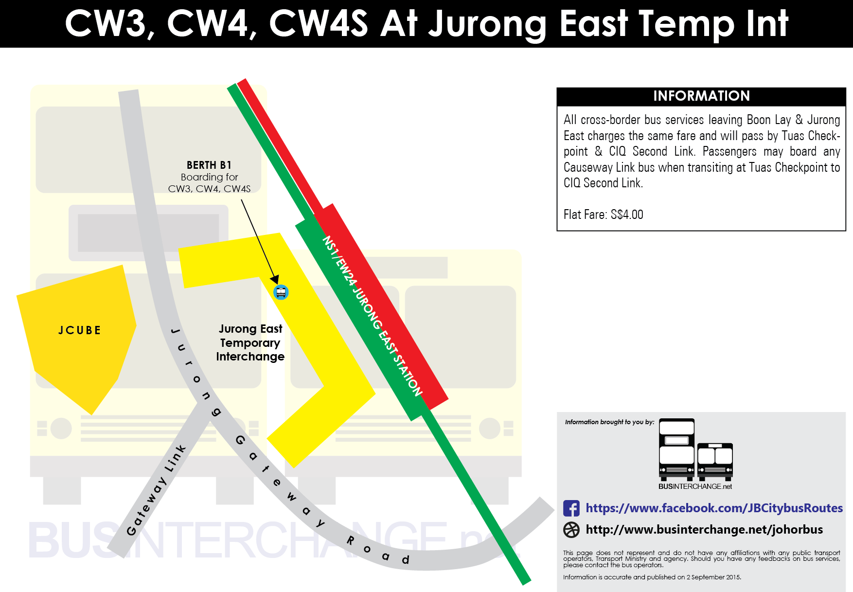 Boarding location at Jurong East for CW3, CW4 and CW4S