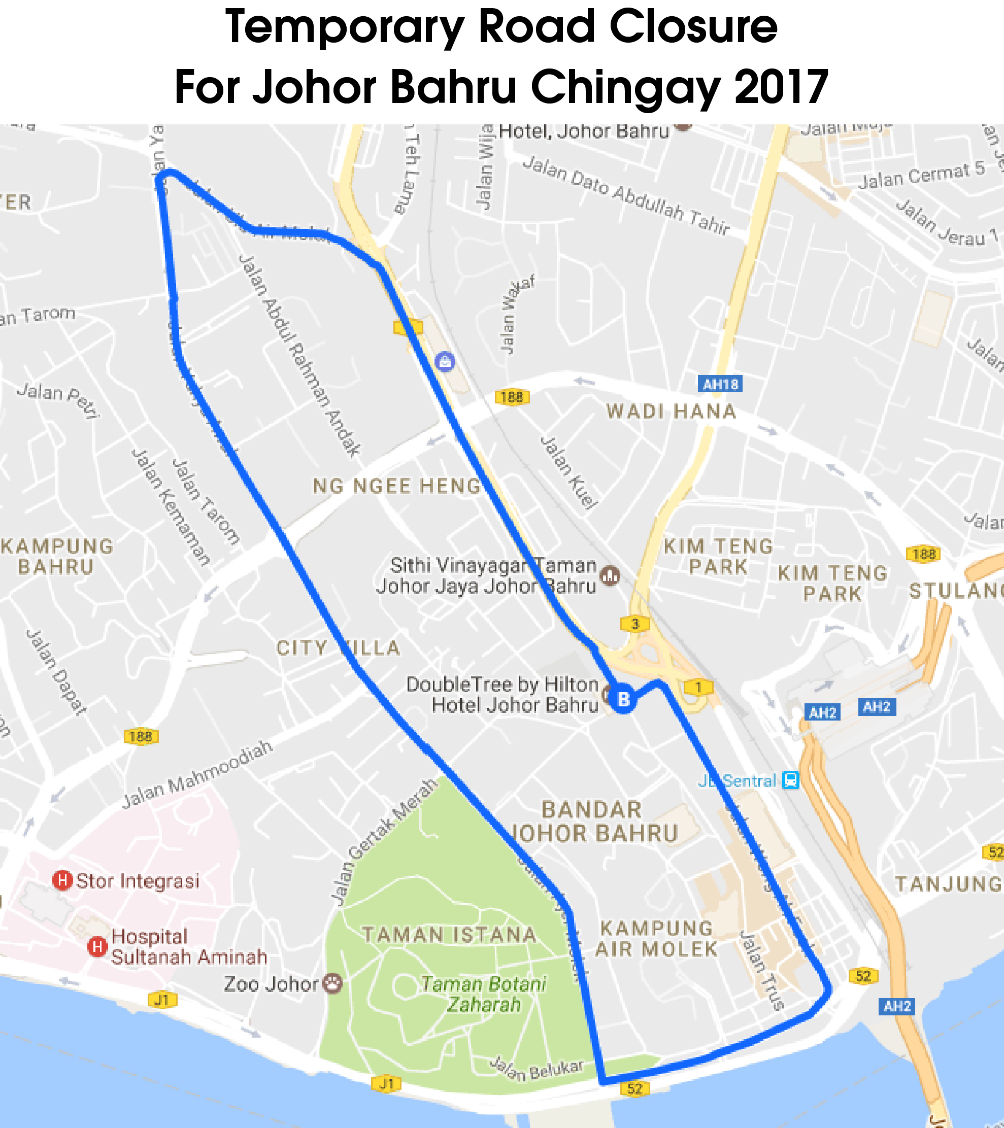 Affected roads during Johor Bahru Chingay 2017