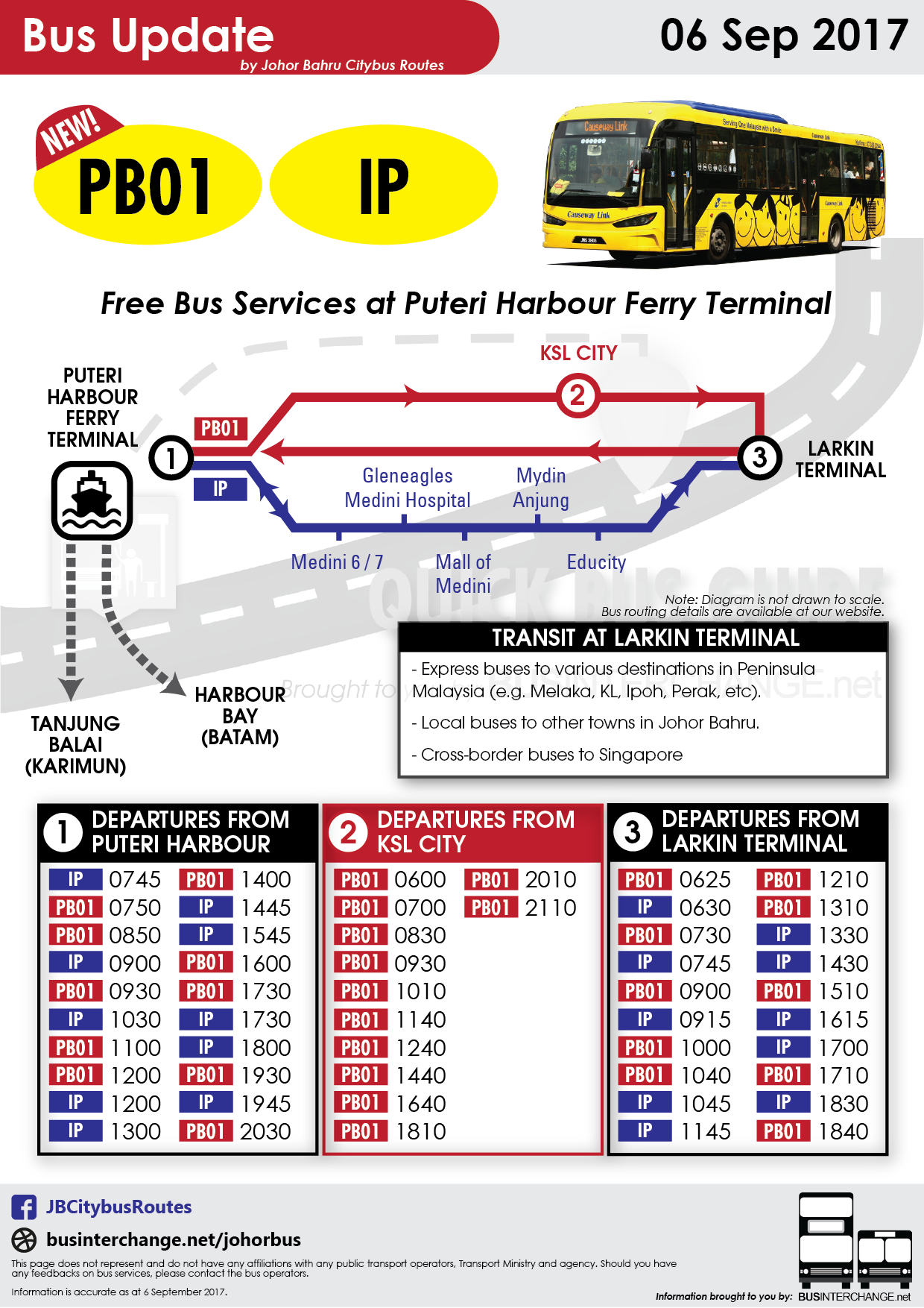 Collated bus timetables for Iskandar Puteri Free Shuttle IP and new bus service PB01.