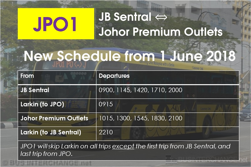 New Timetable for Causeway Link Bus JPO1
