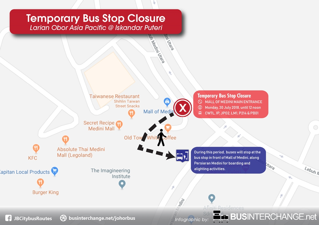 Temporary bus stop closure at Mall of Medini Main Entrance