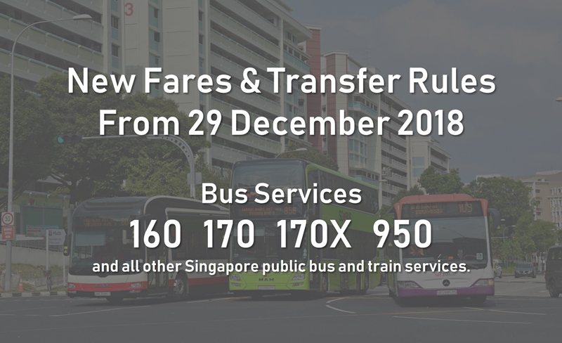 New bus fares and transfer rules on Singapore public bus and train services from 29 December 2018.