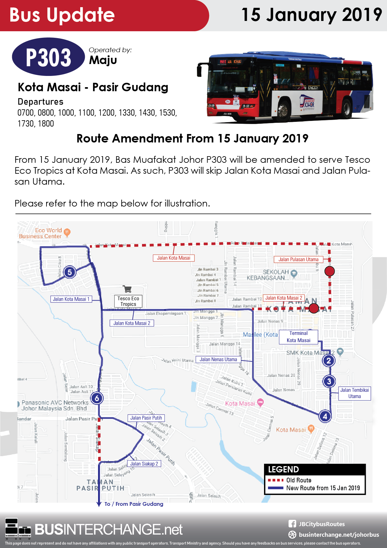 Route amendment of Bas Muafakat Johor P303 from 15 January 2019.