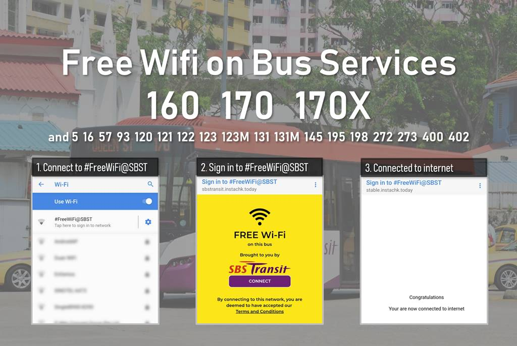 Free wifi on SBS Transit bus services 160, 170, 170X as well as several other bus services