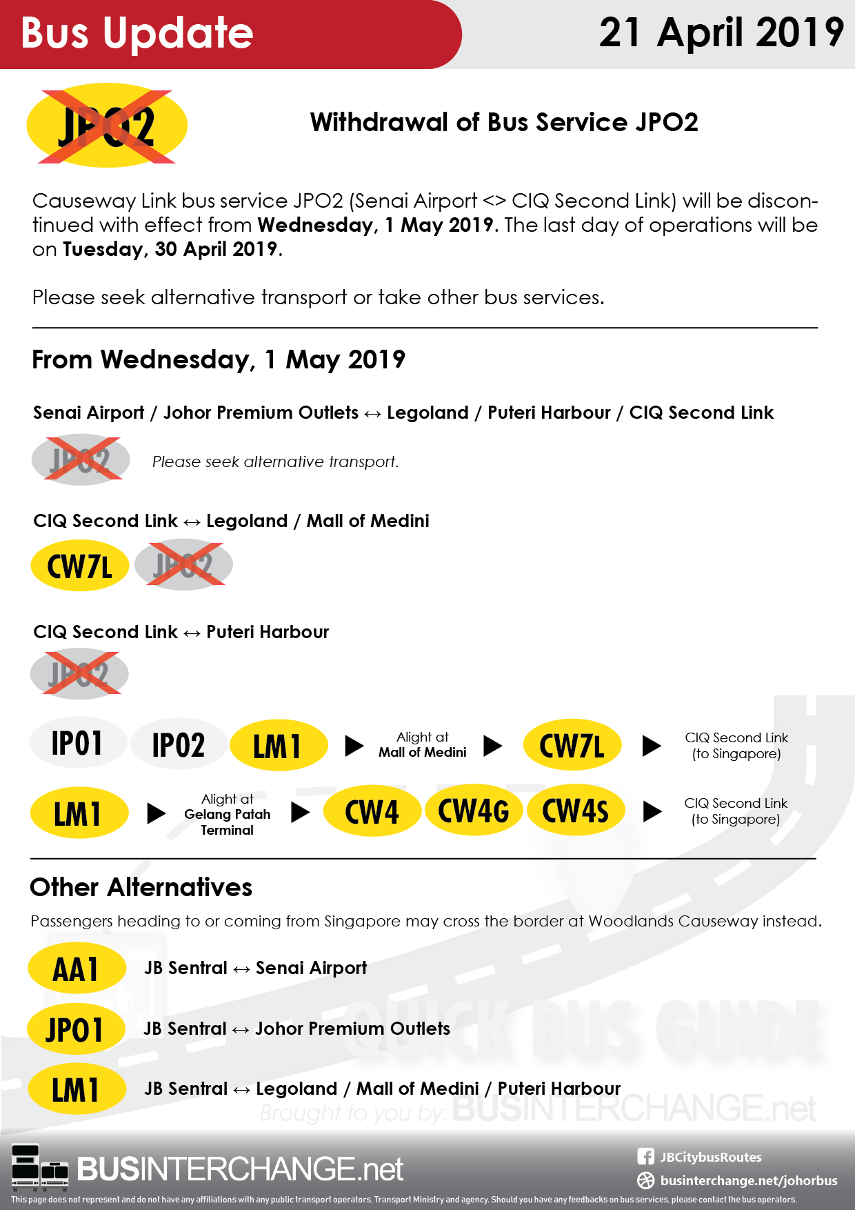 Alternative bus services for Causeway Link JPO2.