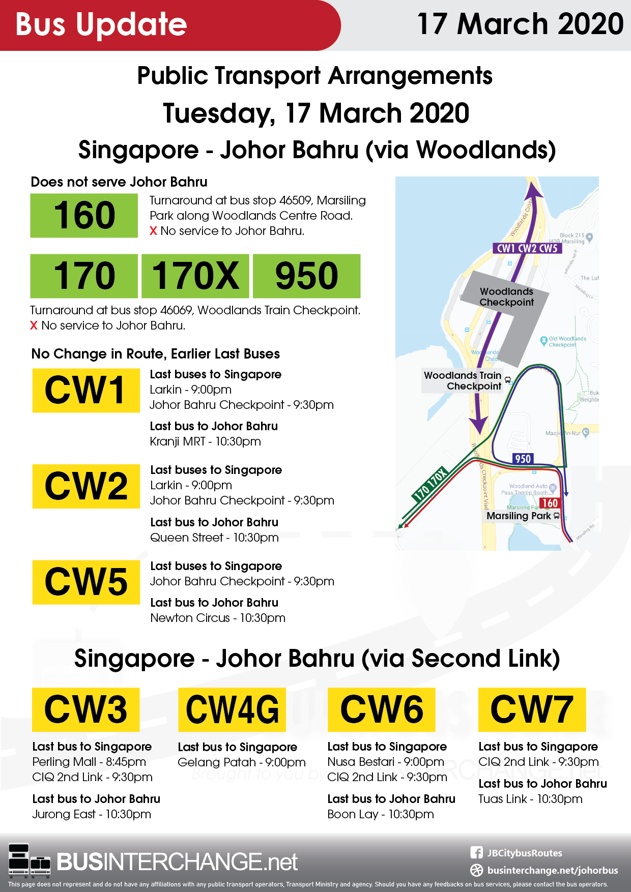 Public transport arrangements on 17 March 2020, before the implementation of Movement Control Order on the next day.