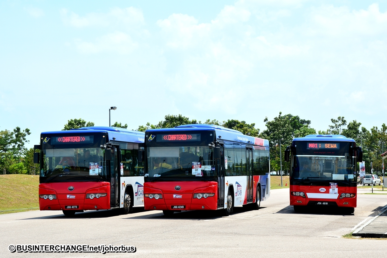 Buses with the Bas Muafakat Johor livery.