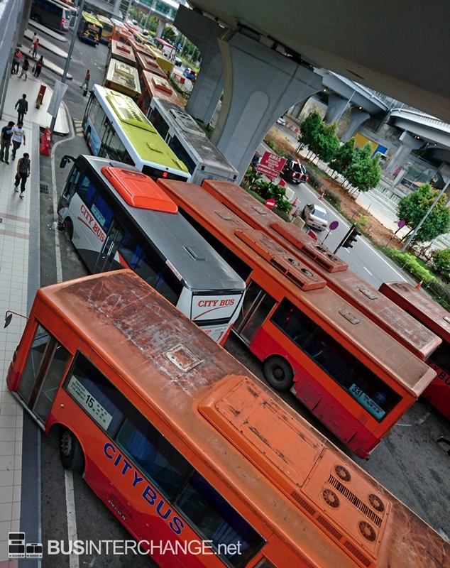 Buses waiting at JB Sentral Bus Terminal