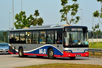 A typical Maju bus on chartered shuttle service.