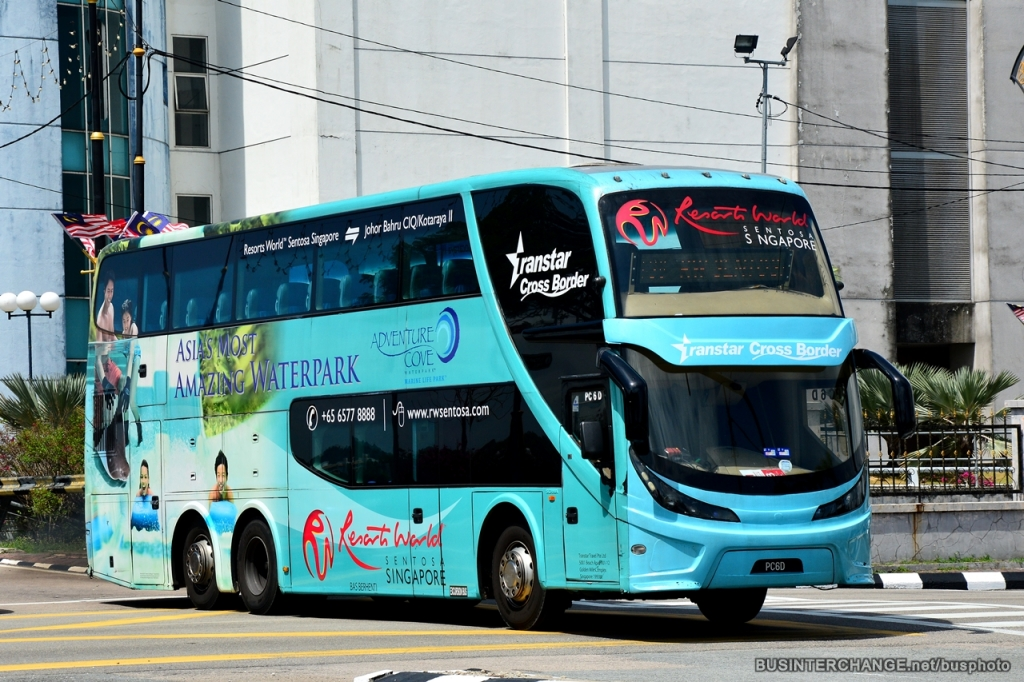 A double decker coach on existing bus service TS8 by Transtar Travel.
