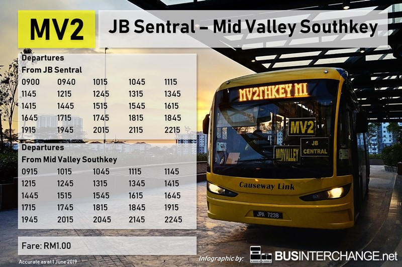 Causeway Link Bus MV2 timetable and fares