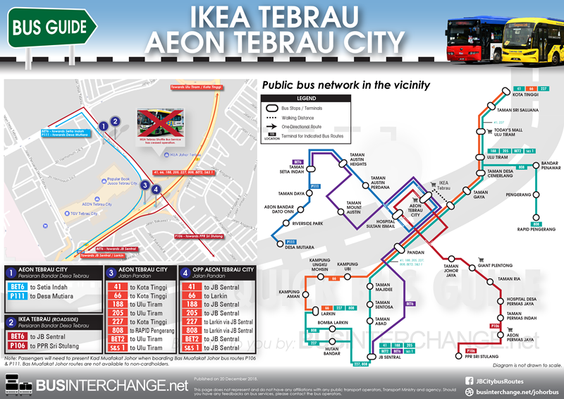Bus services to IKEA Tebrau / AEON Tebrau City