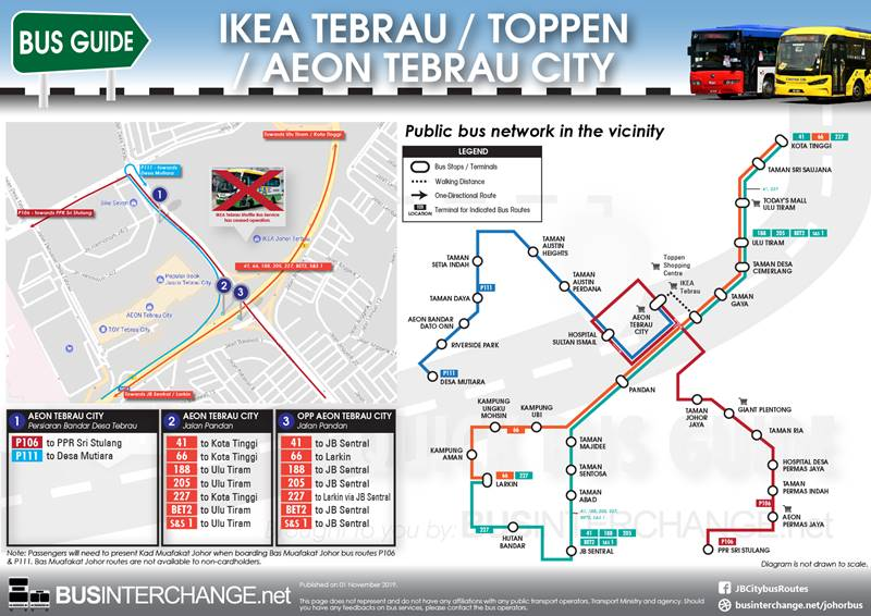 Bus Services to AEON Tebrau City / IKEA Tebrau / Toppen Shopping Centre